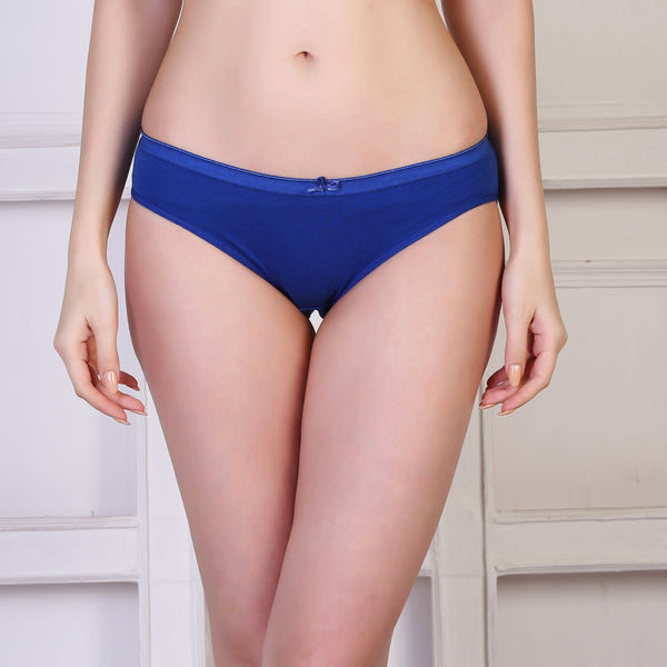 Ficuster Blue Low Rise Cotton Bikini Panty
