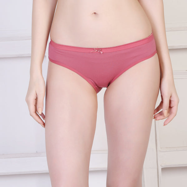 Ficuster Peach Blue Maroon Low Rise Cotton Bikini Panty (Pack of 3)