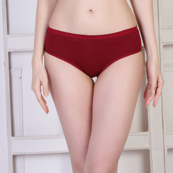 Ficuster Maroon Red Blue High Rise Cotton Hipster Panty (Pack of 3)