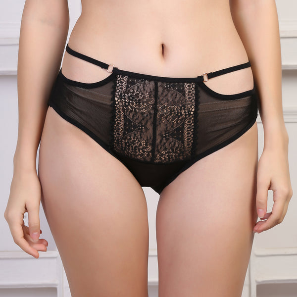 Ficuster High Rise Black Hipster Lace Panty