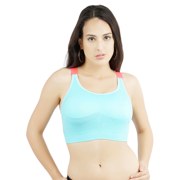 Ficuster Sky Blue Removable Pad Sports Bra