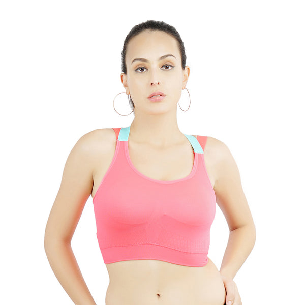 Ficuster Padded Pink Removable Pad Sports Bra
