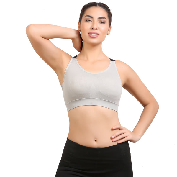 Ficuster Padded Grey Removable Pad Sports Bra