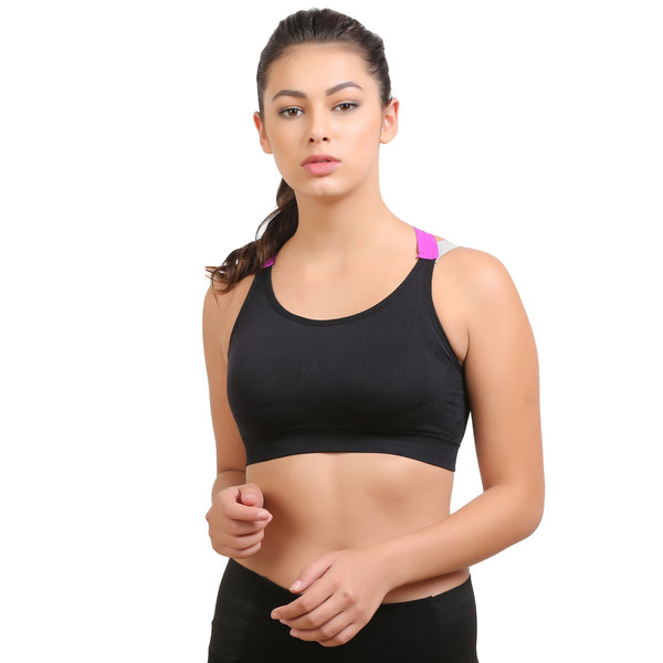 Ficuster Padded Black Removable Pad Sports Bra