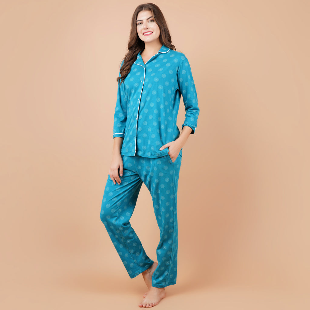 Ficuster Women Turquoise 3/4th Sleeve Night Suit (No Pocket Top Wear)