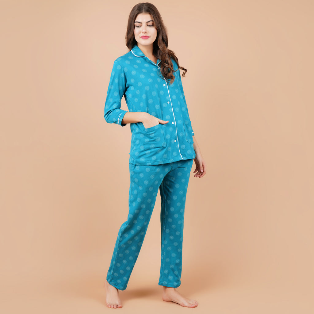 Ficuster Women Turquoise 3/4th Sleeve Night Suit (Double Pockets Top Wear)