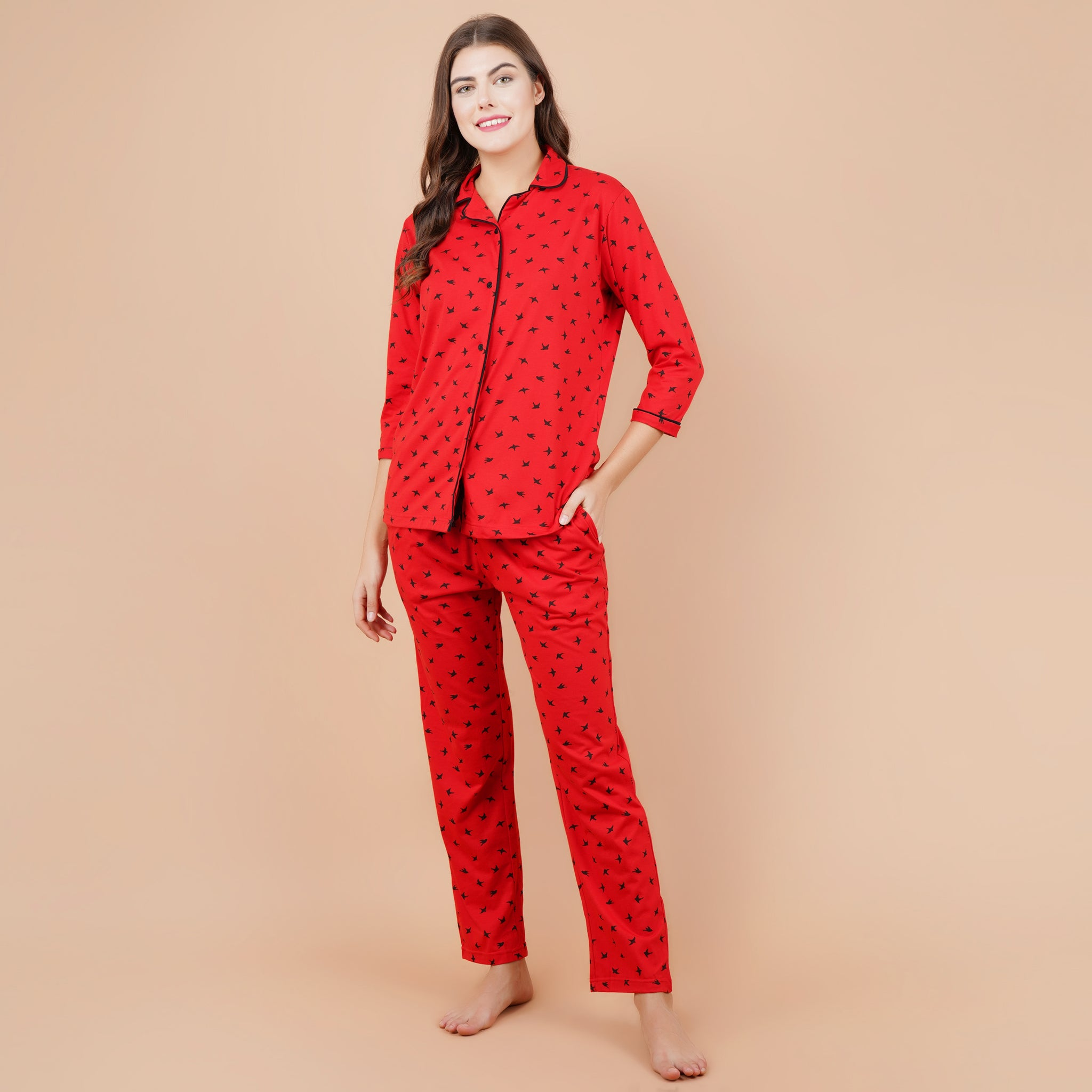 Ficuster Women Red 3/4th Sleeve Night Suit (No Pocket Top Wear)