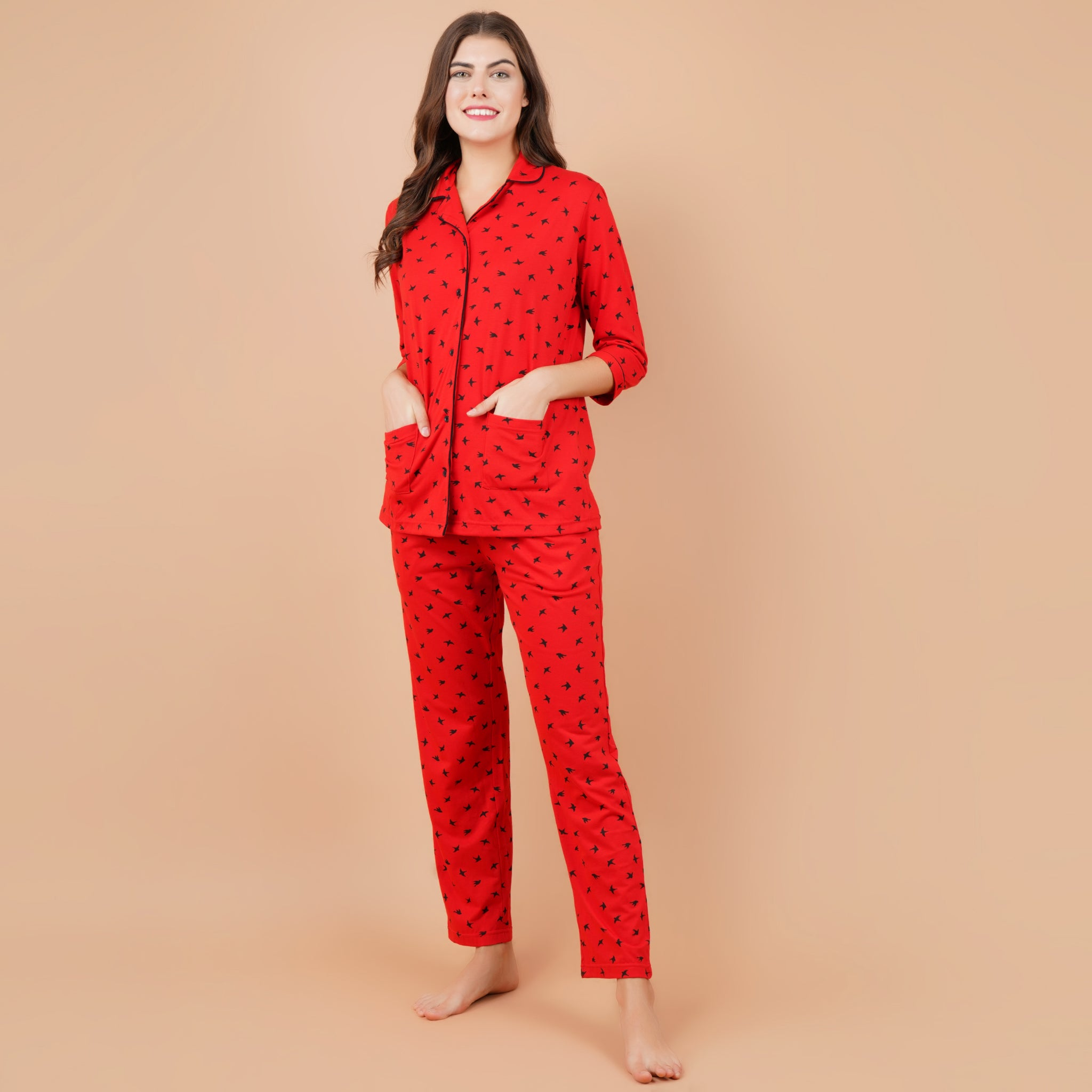 Ficuster Women Red 3/4th Sleeve Night Suit (Double Pockets Top Wear)