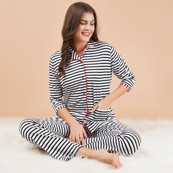 Ficuster Women White Black Stripe Pattern 3/4th Sleeve Night Suit (Double Pockets Top Wear)