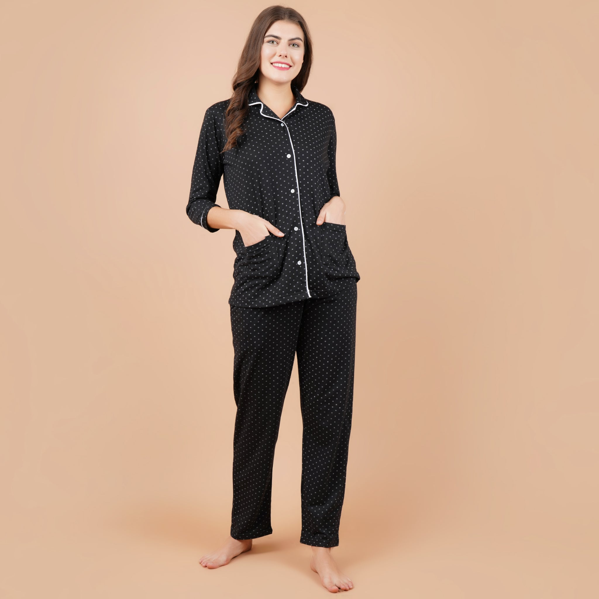 Ficuster Women Black Printed 3/4th Sleeve Night Suit (Double Pockets Top Wear)