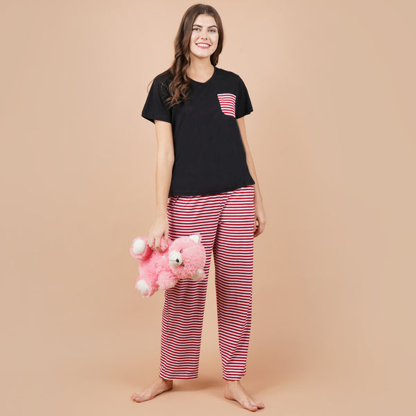 Ficuster Women Black Pink Short Sleeve Pyjama Set