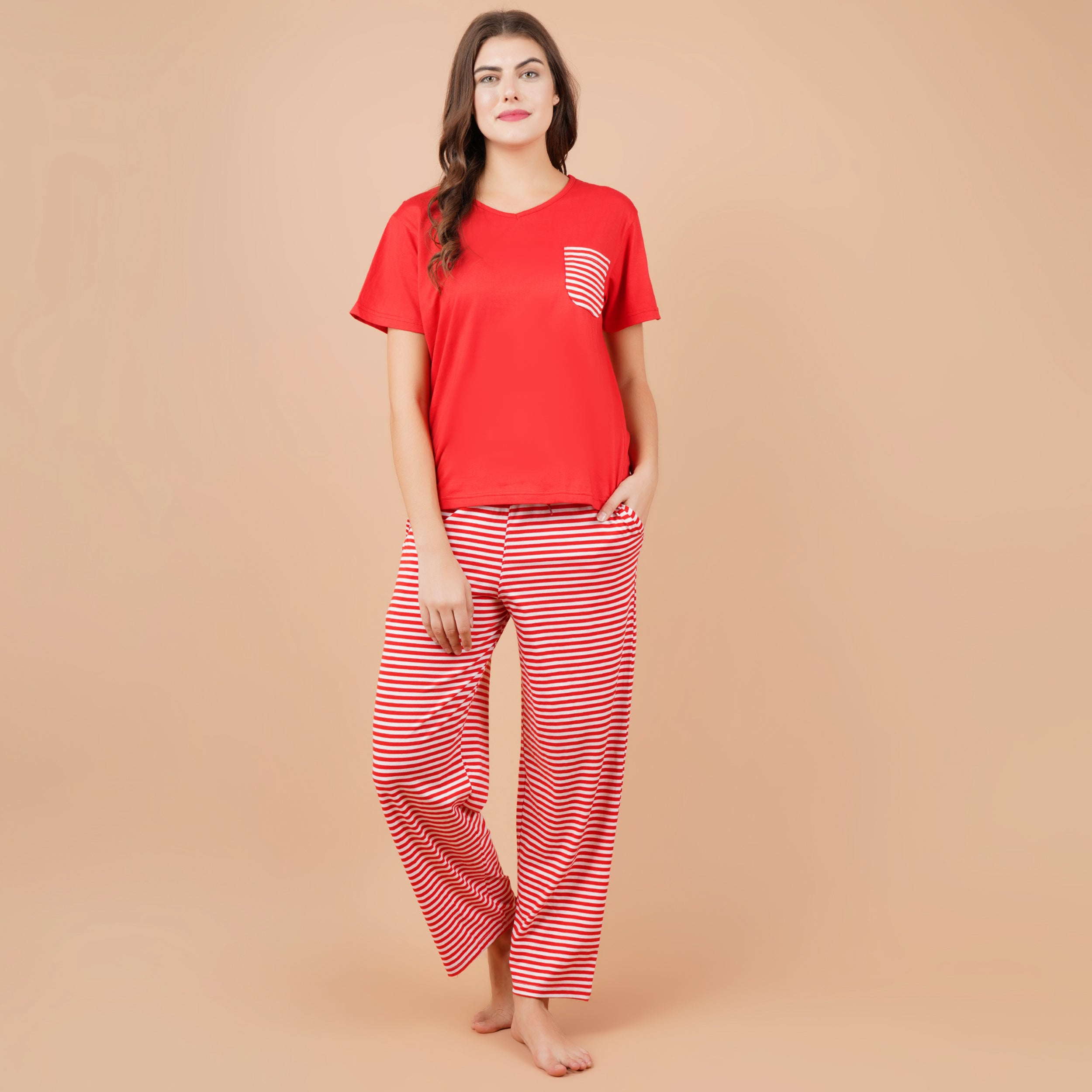 Ficuster Women Red Pink Short Sleeve Pyjama Set