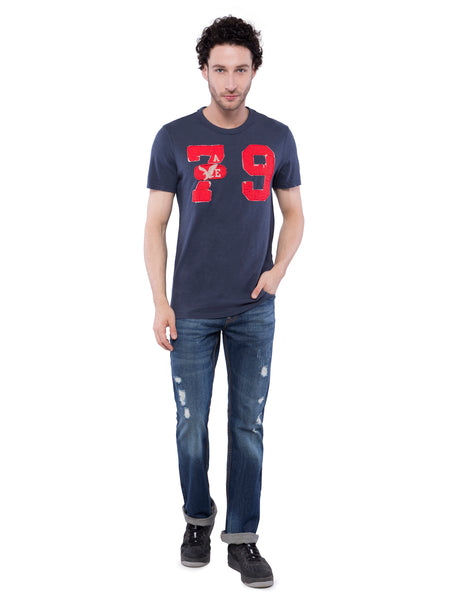 American Eagle Men Blue Applique Crew Neck T-Shirt
