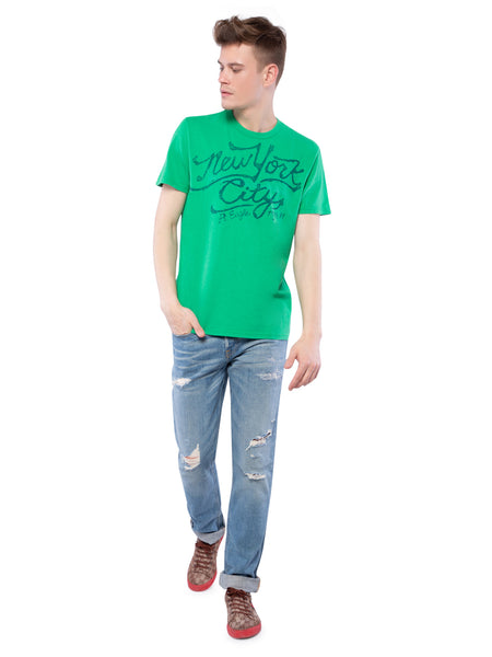 American Eagle Men Green Printed Crew Neck T-Shirt