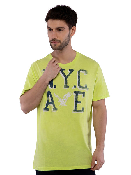 American Eagle Men Lime Printed Crew Neck T-Shirt