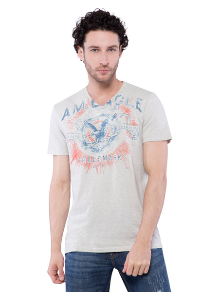 American Eagle Men Grey Printed Crew Neck T-Shirt