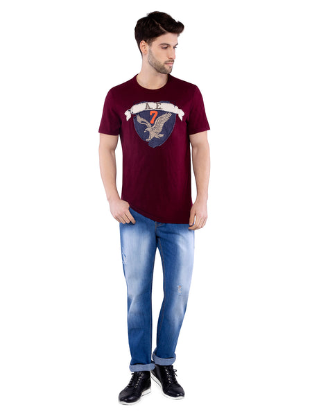 American Eagle Men Wine Applique Crew Neck T-Shirt
