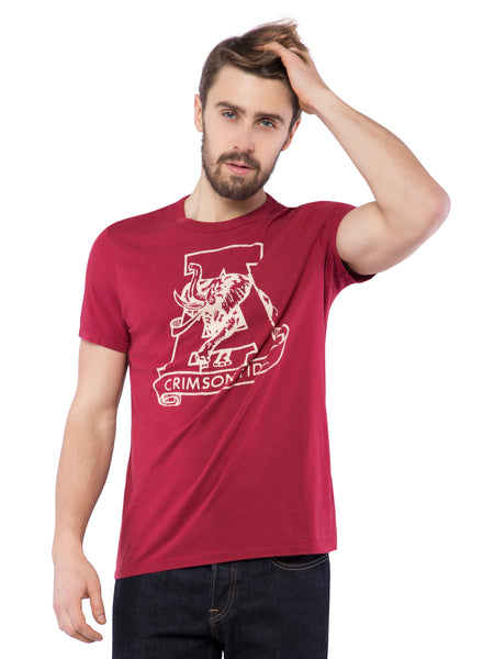 American Eagle Men Ruby Printed Crew Neck T-Shirt