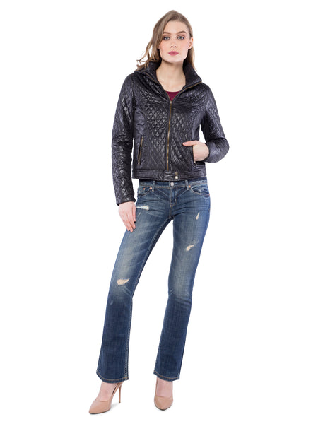 Aeropostale Women Black Quilted Leather Jacket