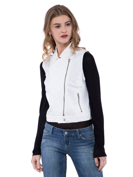 Aeropostale Women White Cut Sleeve Jacket