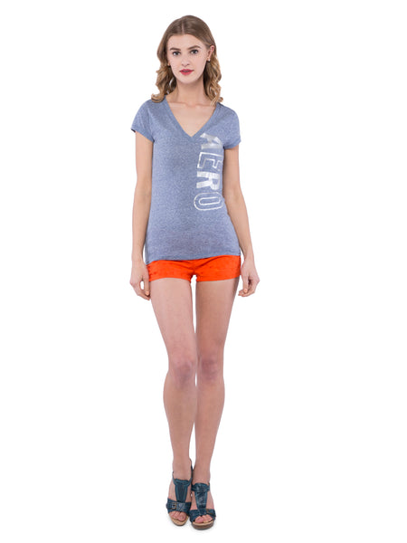 Aeropostale Women Grey V-Neck Top