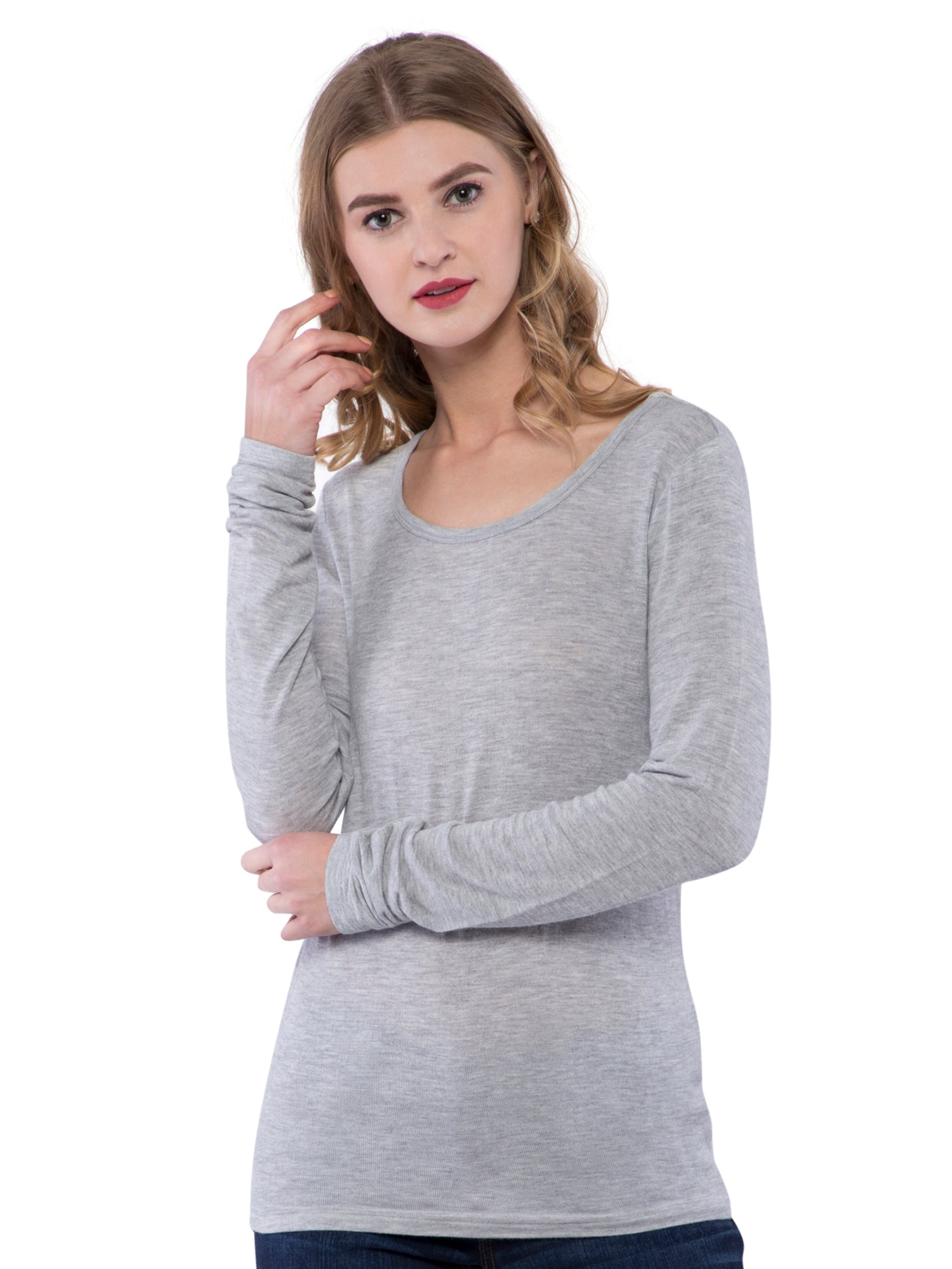 Aeropostle Women Grey Round Neck Top