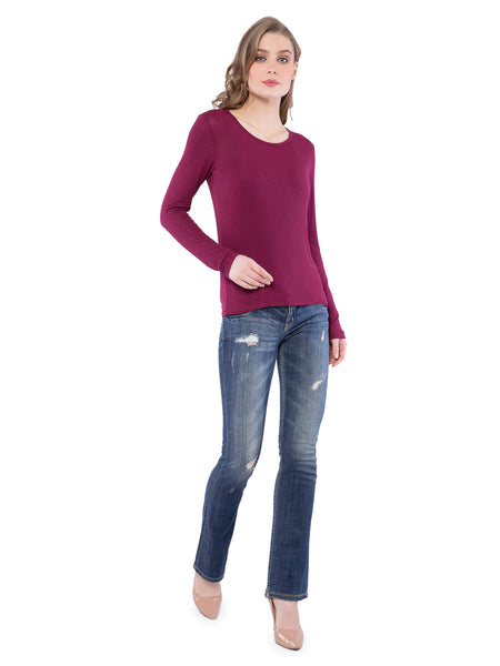 Aeropostale Women Wine Round Neck Top