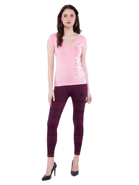 Aeropostale Women Pink Embroidered V-Neck Top