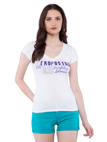 Aeropostale Women White V-Neck Top