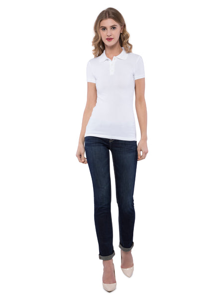 Aeropostale Women White Stretch Solid Pique Polo