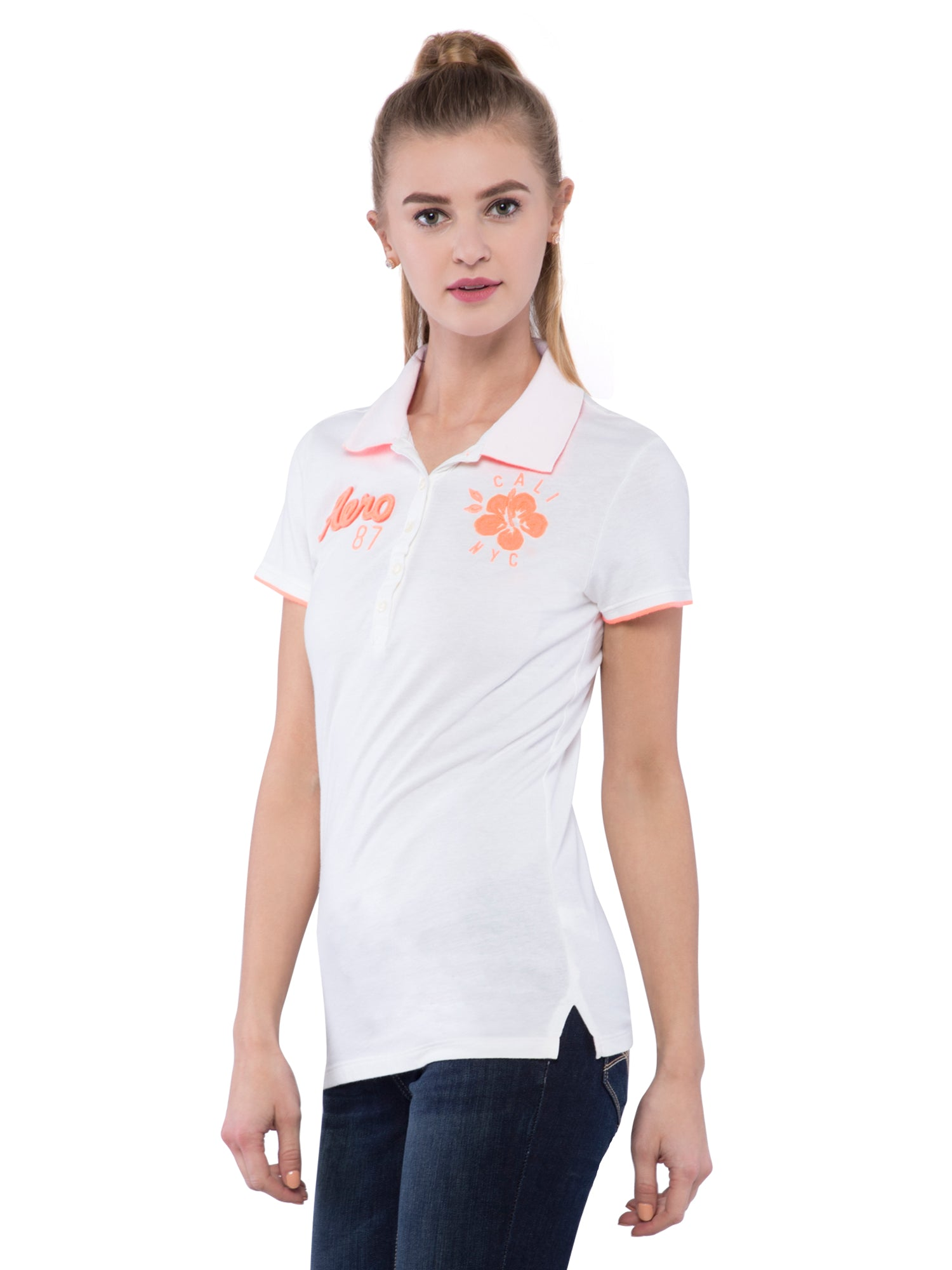 Aeropostale Women White Stretch Pique Polo