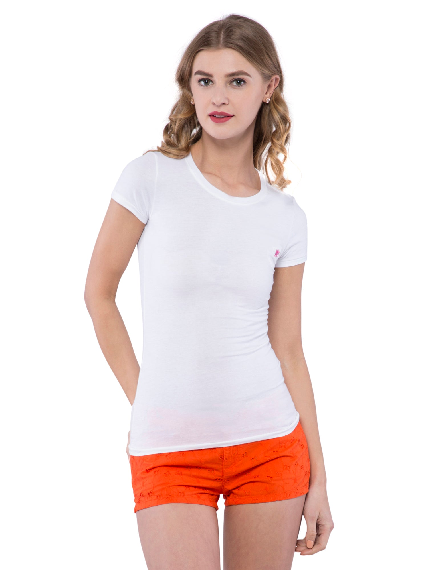 Aeropostale Women White Round Neck Pocket T-Shirt