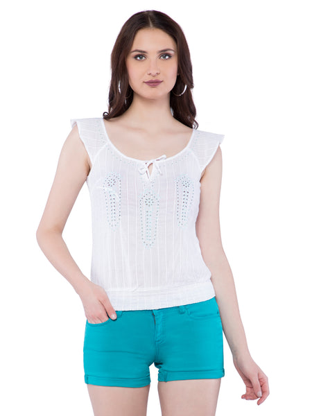 Aeropostale Women White Embroidered Scoop Neck Top