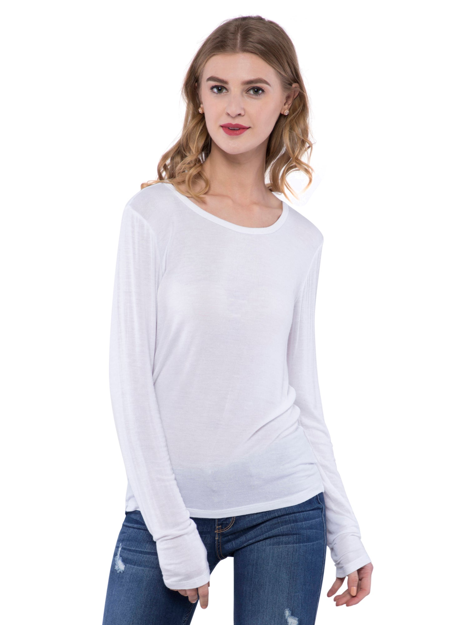 Aeropostale Women White Round Neck Top