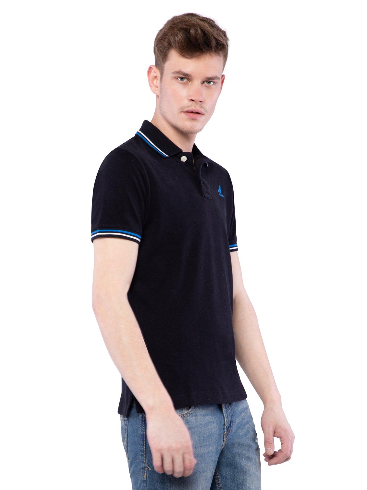 Aeropostale Men Black Stretch Pique Icon Polo