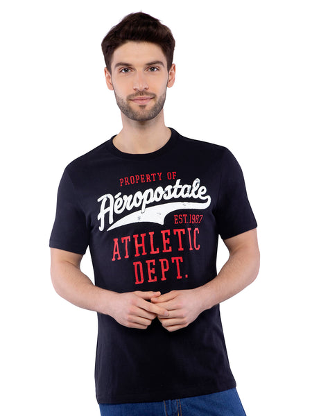 Aeropostale Men Black Crew Neck T-Shirt