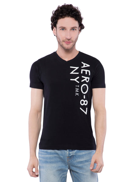 Aeropostale Men Black V-Neck T-Shirt