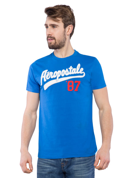 Aeropostale Men Applique Blue Crew Neck T-Shirt
