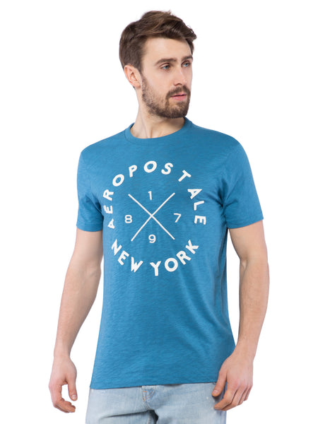 Aeropostale Men Blue Applique Crew Neck T-Shirt