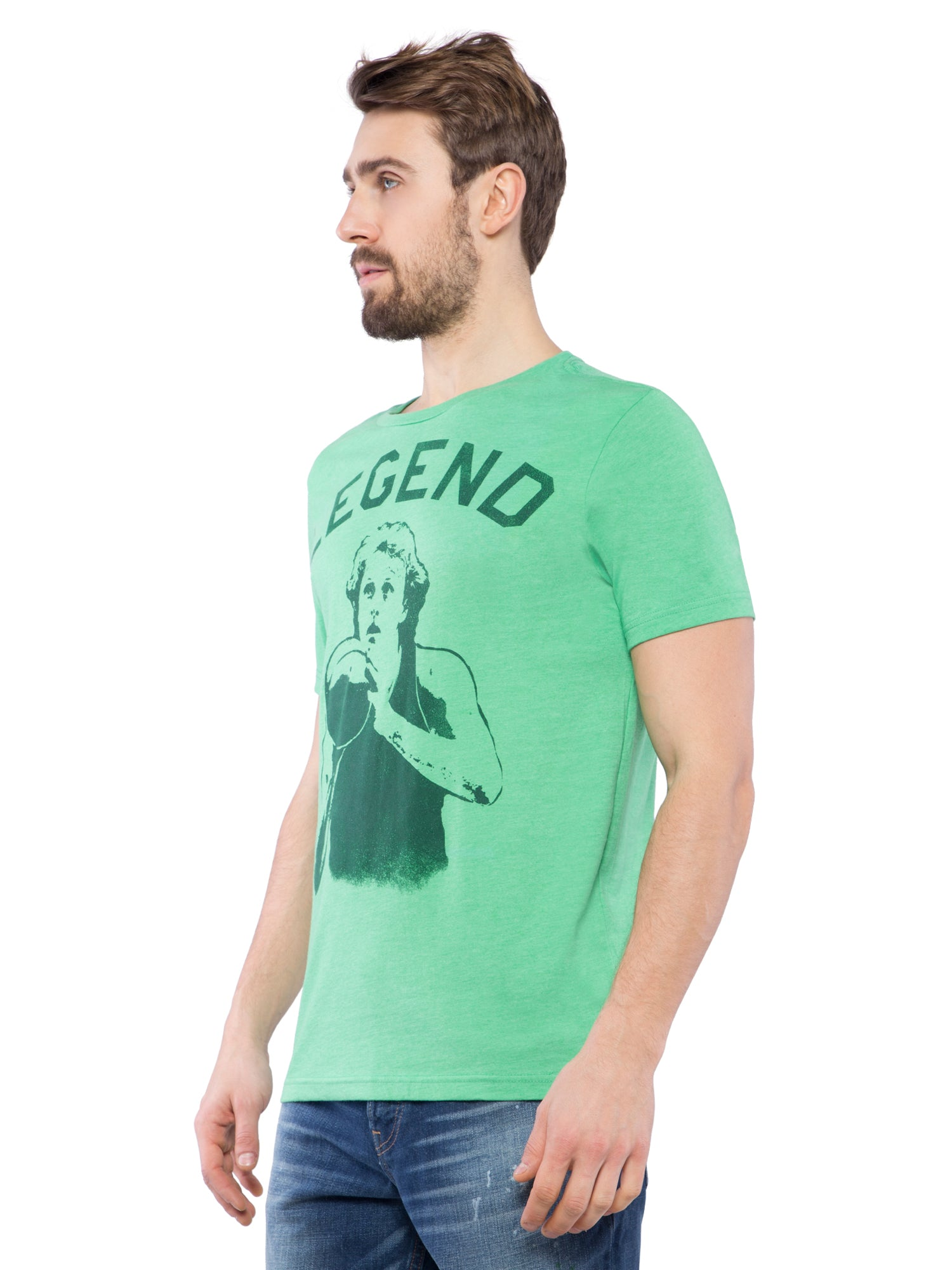 Aeropostale Men Green Crew Neck T-Shirt