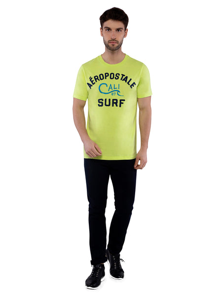 Aeropostale Men Lime Applique Crew Neck T-Shirt