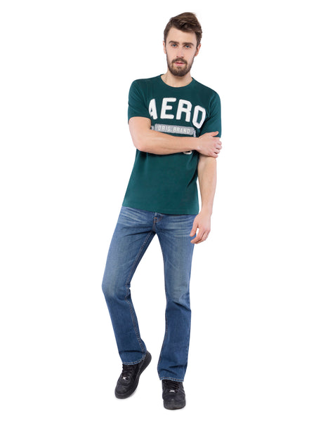 Aeropostale Men Applique Green Crew Neck T-Shirt