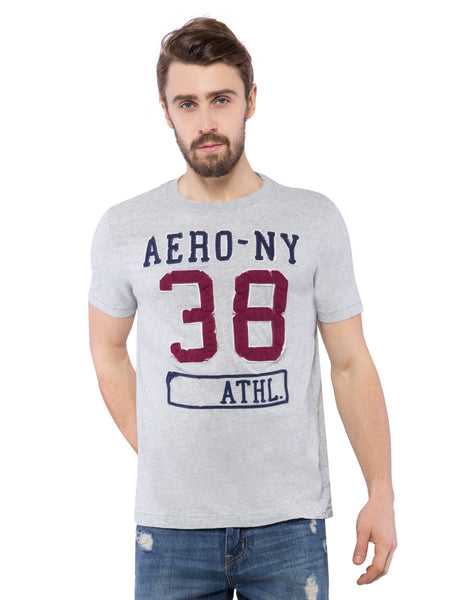 Aeropostale Men Grey Applique Crew Neck T-Shirt