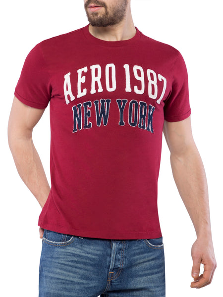 Aeropostale Men Applique Maroon Crew Neck T-Shirt
