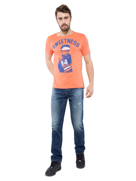 Aeropostale Men Orange Crew Neck T-Shirt