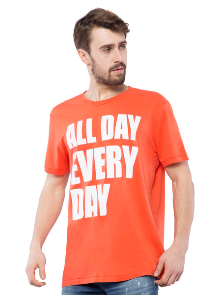 Aeropostale Men Orange Printed Crew Neck T-Shirt
