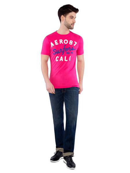 Aeropostale Men Pink Applique Crew Neck T-Shirt