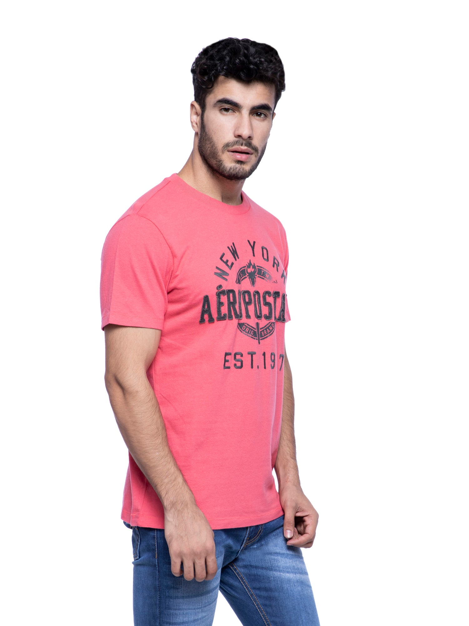 Aeropostale Men Coral Crew Neck T-Shirt
