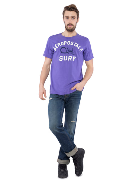 Aeropostale Men Purple Crew Neck T-Shirt
