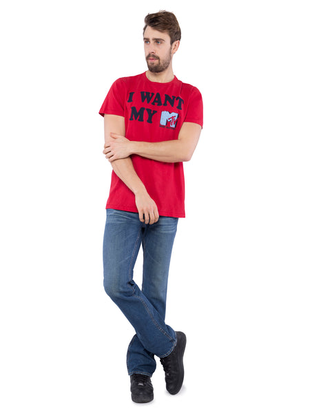Aeropostale Men Red Applique Crew Neck T-Shirt